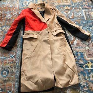 Color block wool trench coat